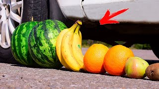 Crushing Crunchy & Soft Things by Car! - EXPERIMENT: FRUITS VS CAR