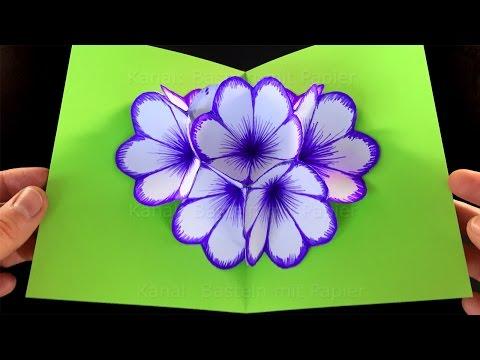 Basteln Mit Papier Blumen Pop Up Karte Falten Diy Geschenke Selber
