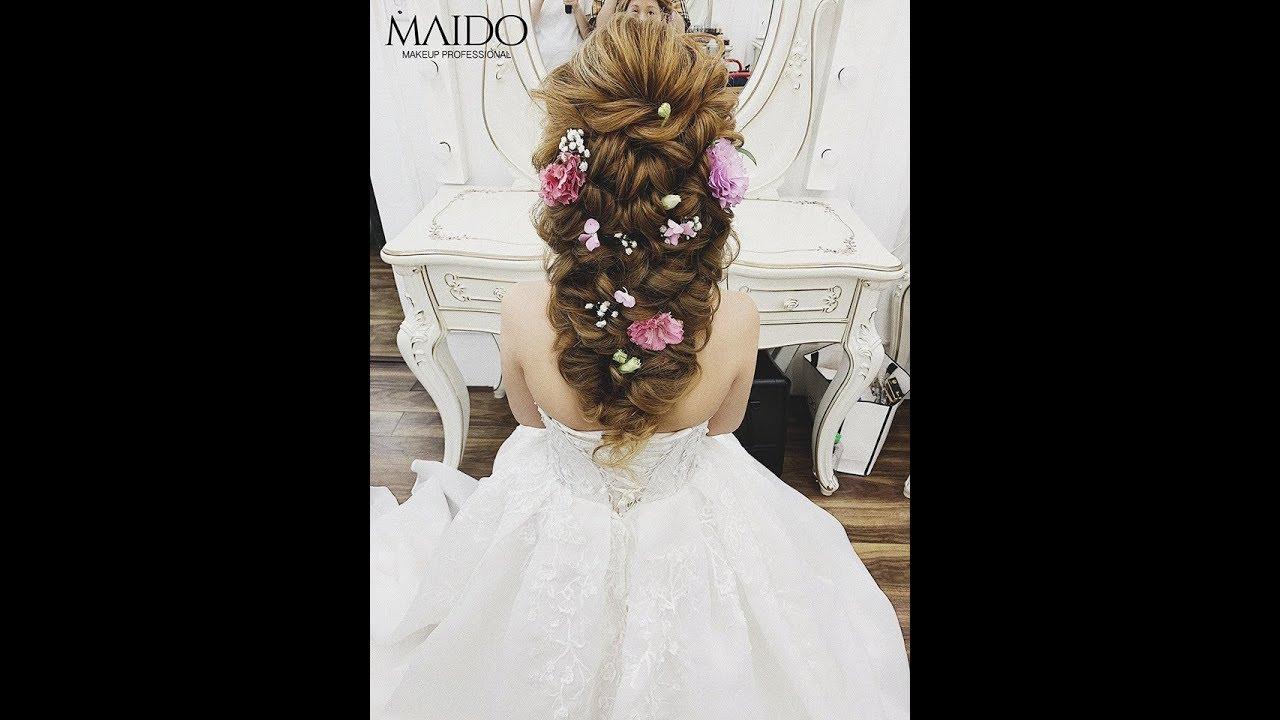 Hướng dẫn làm tóc cô dâu Hàn Quốc kết hợp cùng hoa tươi cực đẹp – Mai Đỗ Makeup