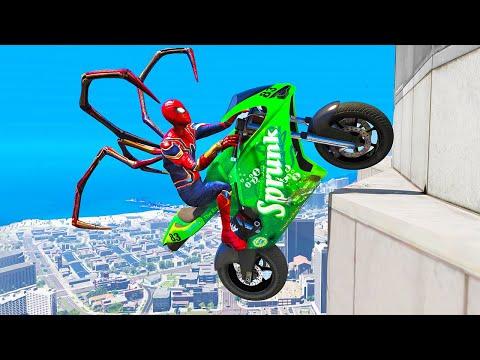 GTA 5 Spiderman Epic Jumps #15 ( Spider-Man Stunts & Fails )