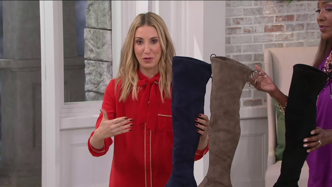 89e675ece7c Marc Fisher Faux-Suede Over the Knee Boots - Humor on QVC - YouTube