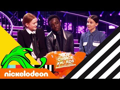 Stranger Things Cast Wins Favorite TV Show w/ Millie Bobby Brown 🏆   Kids' Choice Awards 2018   Nick