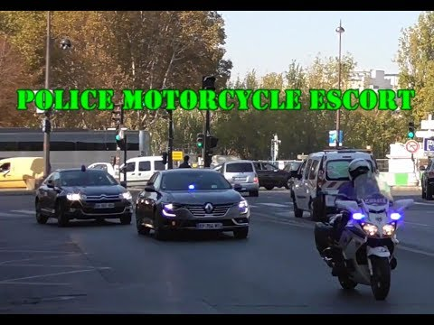 Police Motorcycle Escort cars - Lights, Sirens