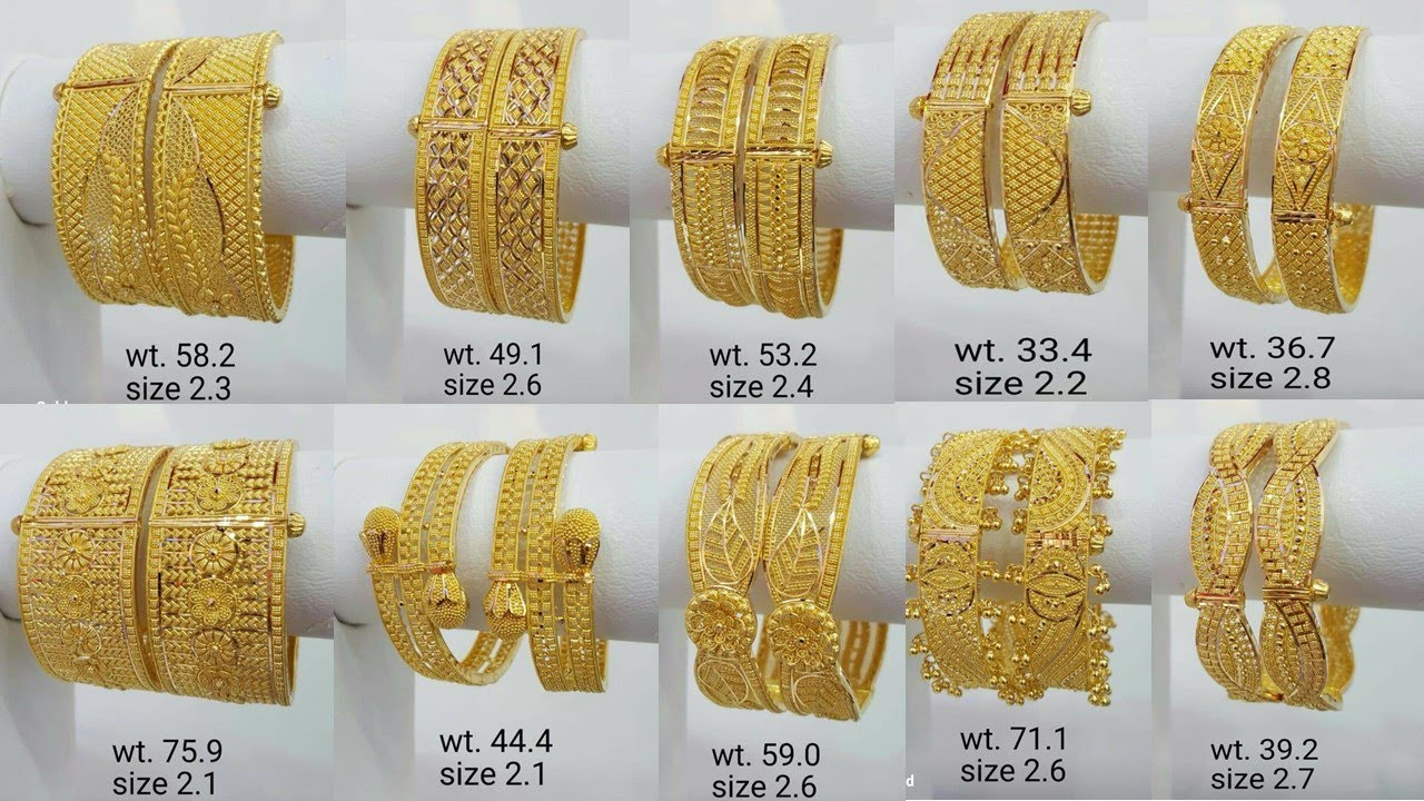 New 2020 Light Weight Gold Kada Design With Weight Size Pure