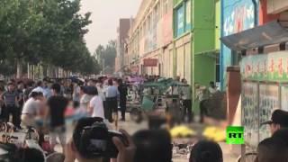 لحظة وقوع الانفجار في الصين