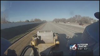 Large equipment shaking houses off I-84 during construction