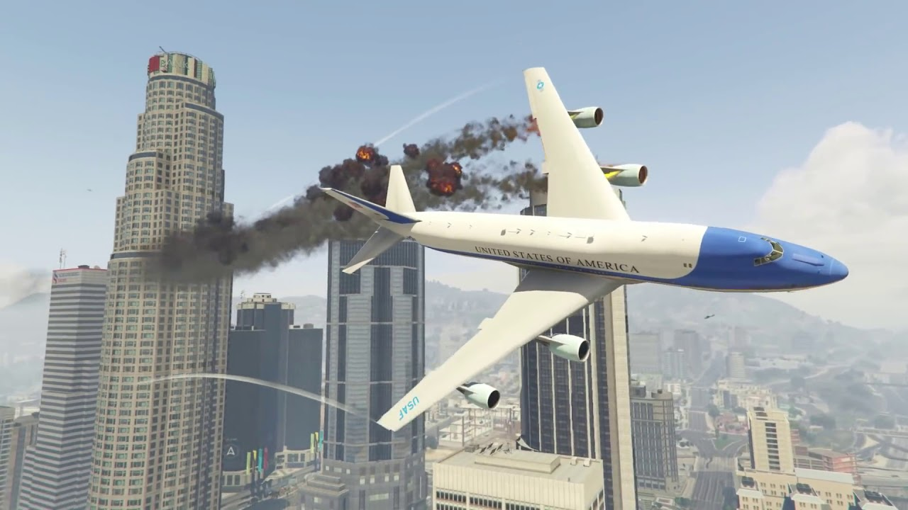 Dramatic Air Force One Plane Emergency Landing at Aircraft Carrier in GTA 5! Two Engines Failed