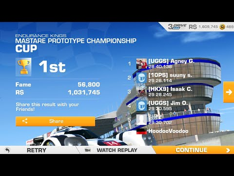 R$ 1,000,000, 56800 FAME Real Racing 3- 10 Laps On LeMans