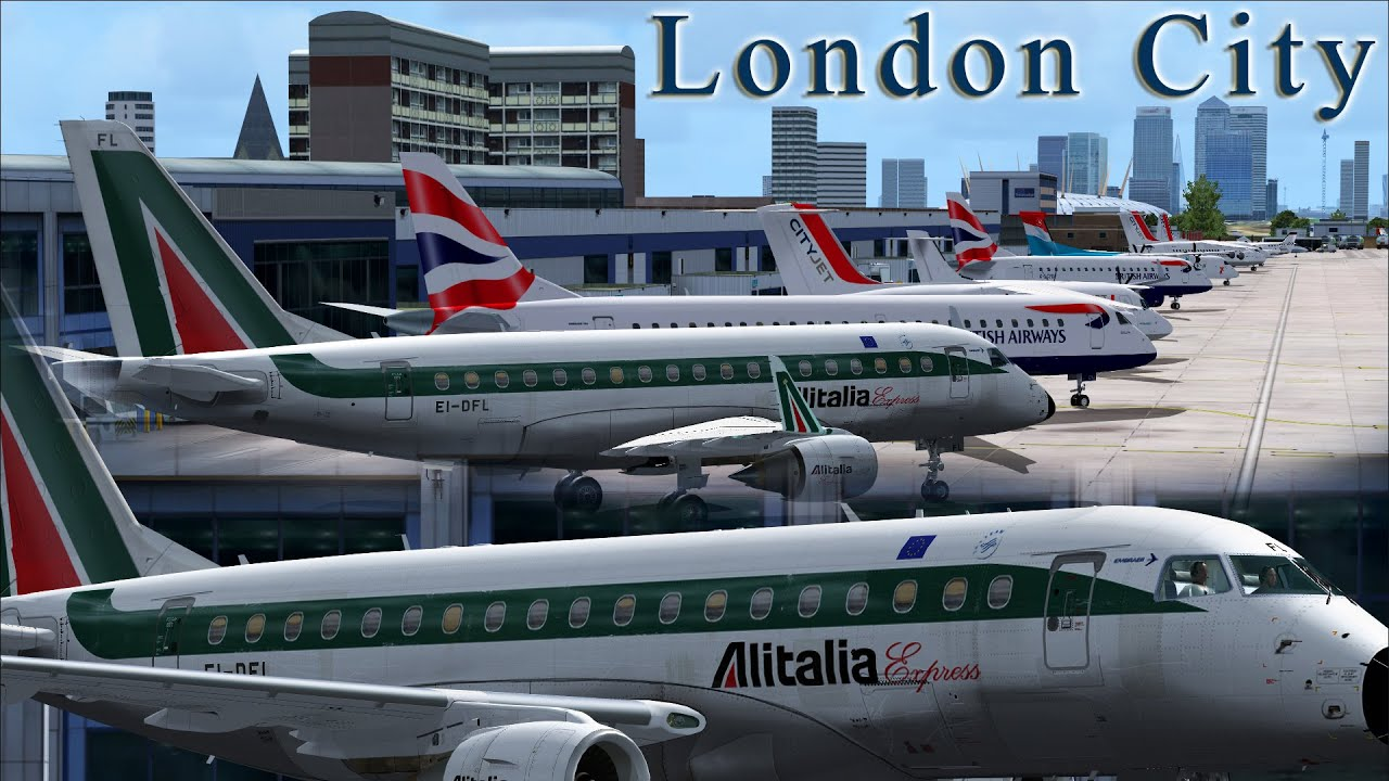 FSX - Alitalia Embraer 170: Lousy Landing London City by M A  Flight  Simulation
