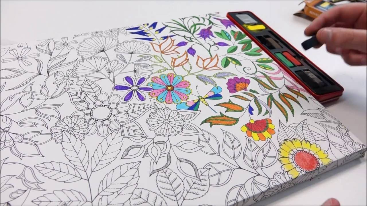 Johanna Basford Colouring Canvas Secret Garden - YouTube