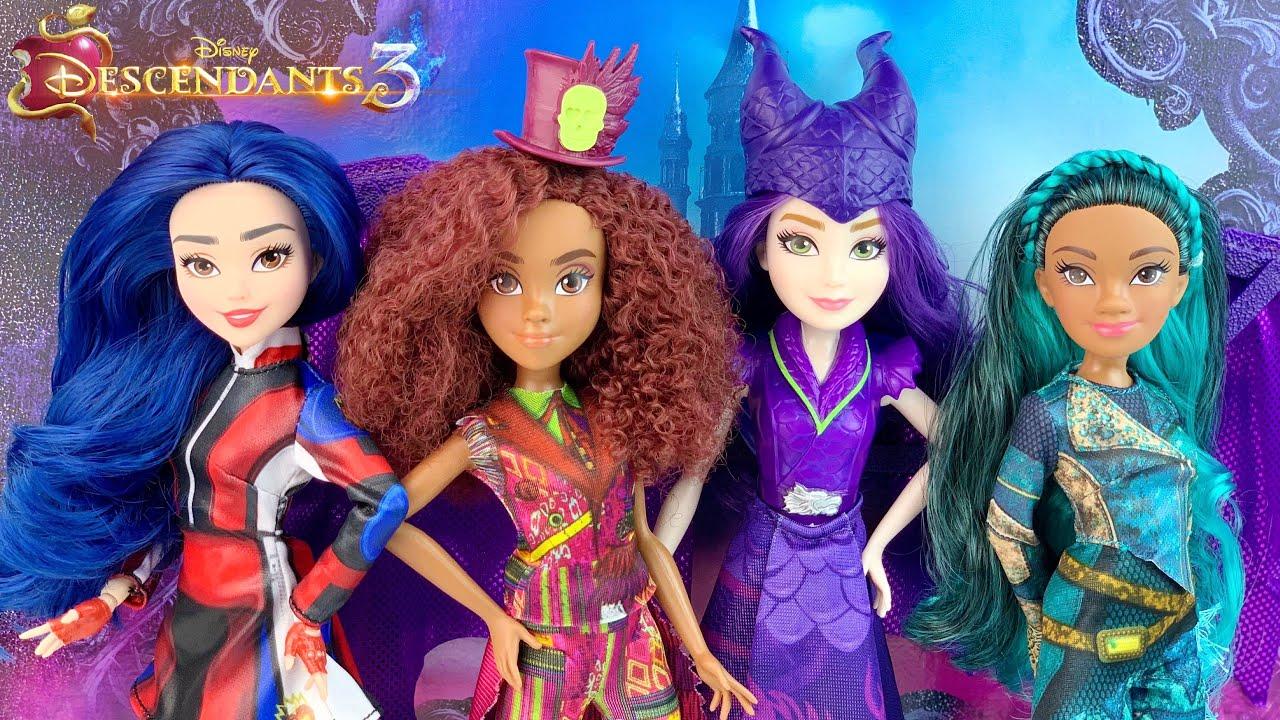 Descendants 3 Dolls by Hasbro (Dragon Queen Mal, Evie, Uma, Celia) Review &  Unboxing