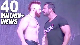 john abraham vs sheamus wwe superstar in mumbai force 2 promotion