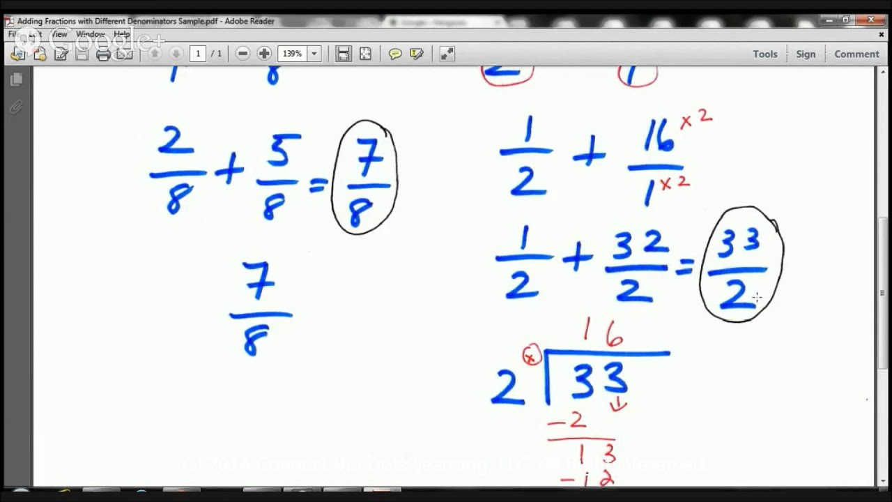 Fifth Grade Math Lesson Adding Fractions With Different Denominators
