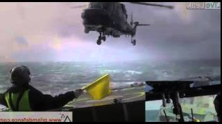 Absolute Crazy Helicopter Landing on Ship During Rough Seas