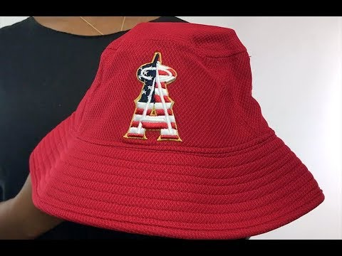 sports shoes 23e0d 37215 Angels  2018 JULY 4TH STARS N STRIPES BUCKET  Red Hat by New Era