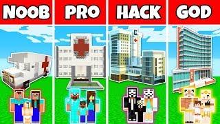Minecraft: FAMILY MODERN HOSPITAL BUILD CHALLENGE - NOOB vs PRO vs HACKER vs GOD in Minecraft