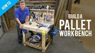 A simple guide on how to build this sturdy wooden workbench from pallets. This pallet project works great as a garage workbench