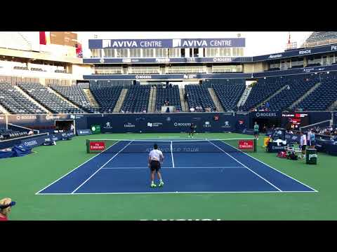 Denis Shapovalov Practice Session With Felix Auger Aliassime Court Level - Rogers Cup Toronto 2018