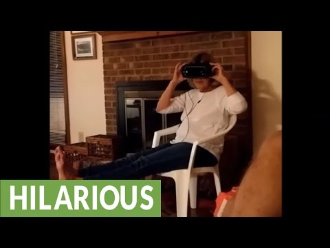 Mom tries VR, can't handle intensity