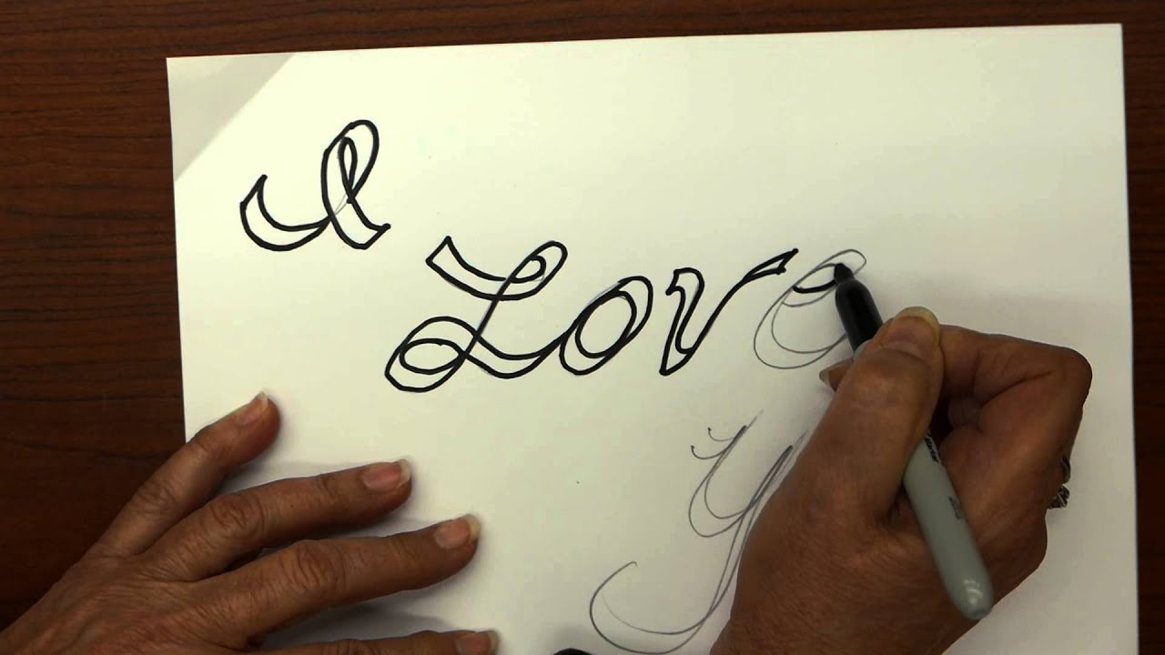 How to make a 3d i love you graffiti tattoo style