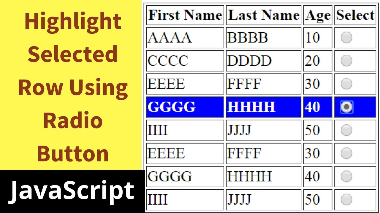 How To Highlight Checked Table Row Using Radio Button In Javascript [ with  Source code ]