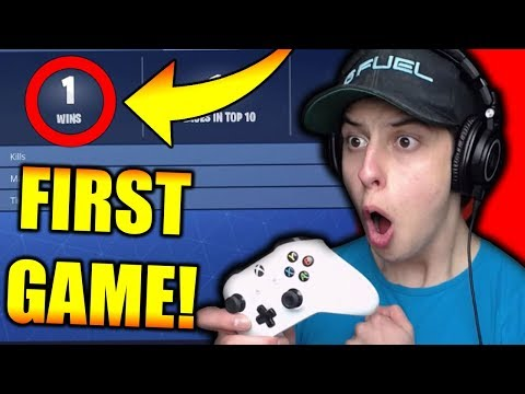 *WIN* FIRST EVER GAME OF FORTNITE ON XBOX!!! (PC Player Tries Fortnite Battle Royale on CONSOLE)