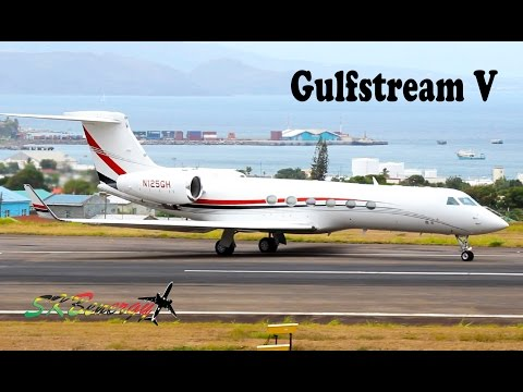 Beautiful Gulfstream V (G5) N125GH departing St. Kitts (HD 1080p)