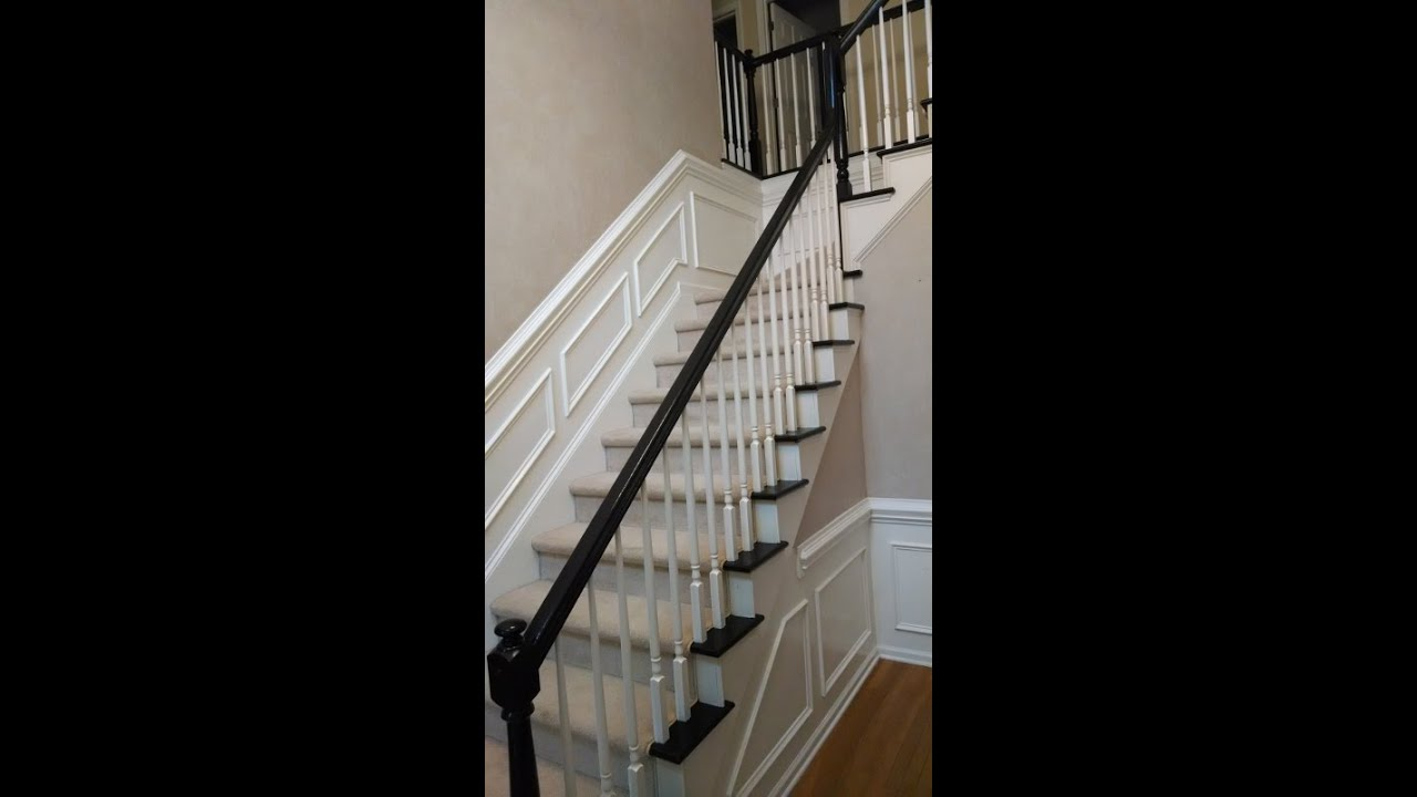 Refinishing 2 Story Foyer Stairs (from Old Brown To Black)   YouTube