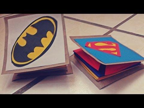Como hacer tarjeta en forma de acordeón de superheroes | Tarjeta para papá