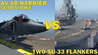 AV-8B Harrier vs Two SU-33 Flankers - DCS: World - Oculus Rift Gameplay