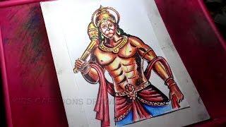 How to Draw Lord Veera Hanuman Drawing