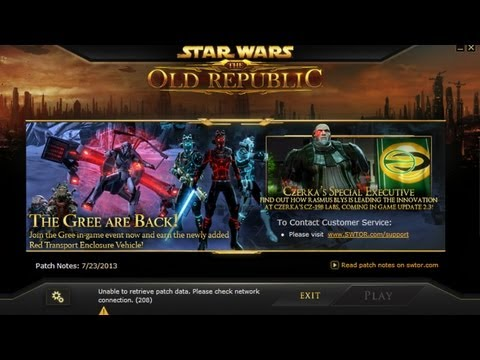 SWTOR Login Issue, Unable to Retrieve Patch Data 30.07.2013