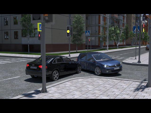 ДТП при проезде перекрёстка на жёлтый сигнал светофора