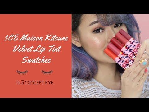 3CE Maison Kitsune Velvet Lip Tint Swatches | YesStyle Korean Beauty