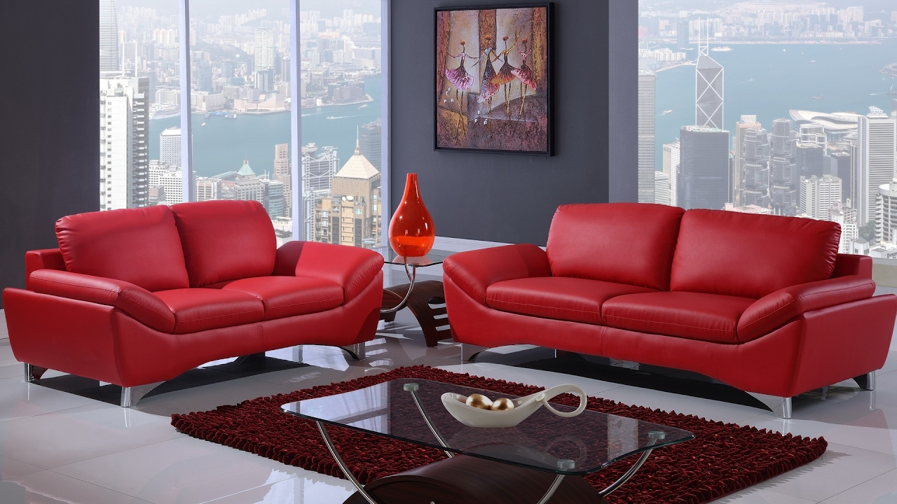 Home Space Red Sofa Living Room Design- 2017