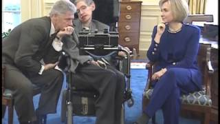 Stephen Hawking at the White House with President Clinton
