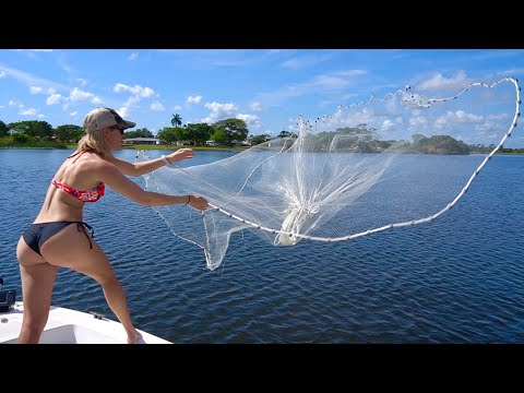 Learning how to throw a cast net, catching bait & catching MONSTER fish!!