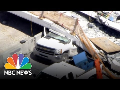Pedestrian Bridge Collapse From Miami's Chopper Video | NBC News