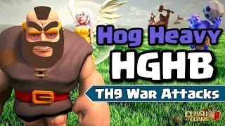 CLASH OF CLANS - HGHB HOG HEAVY WAR ATTACKS