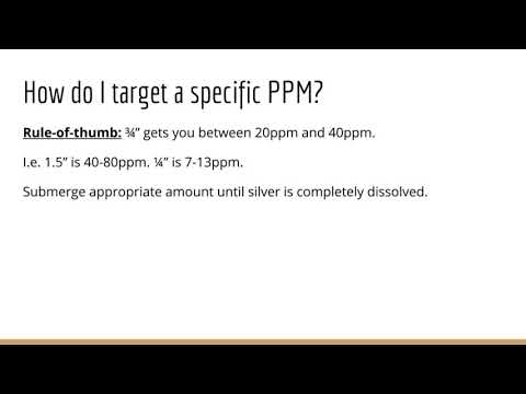 How do I target a specific PPM? Colloidal Silver FAQ
