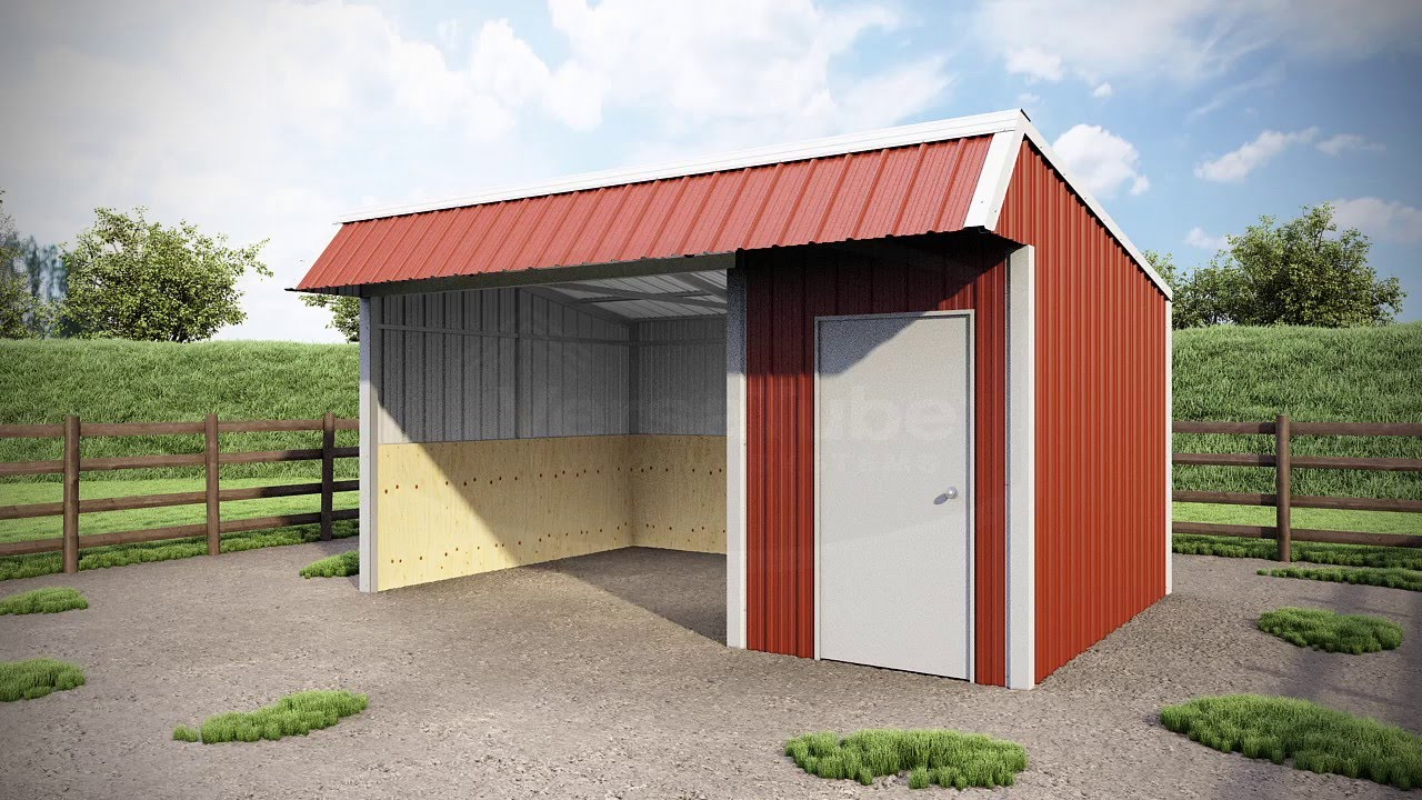 12 x 18 x 8 - Single Slope Loafing Shed - YouTube