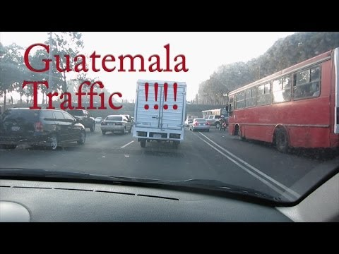 Driving to Guatemalan Airport during Traffic -  La Aurora 2014