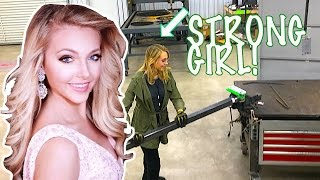 Hottest girl on youtube - Cute blonde Bends Thick Metal with Homemade DIY Metal Bender