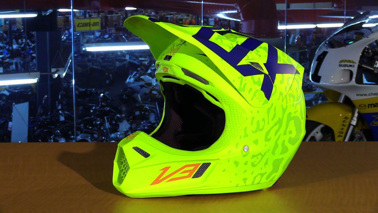Fox V3 Helmet >> Fox Racing 2016 V3 Cauz Motorcycle Helmet Review - YouTube