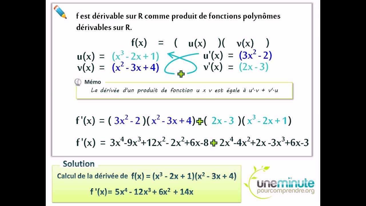 Calcul de la dérivée - Une Minute Pour Comprendre - TS - TES - 2 - YouTube