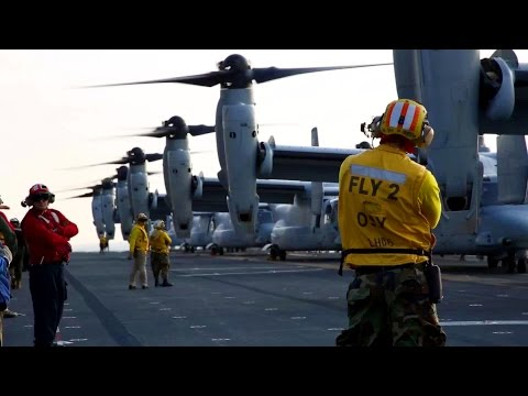 V-22 Osprey & AV-8B Harrier Taking-off From Flight Deck