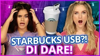 DIY STARBUCKS USB DRIVE?! Di Dare w/ Caroline Tucker & Erika Vianey