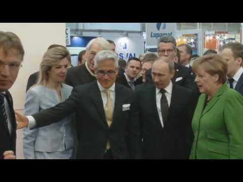 German Chancellor Angela Merkel & Russian President Vladimir Putin visited BAUER at Hannover Fair