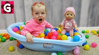 Gaby Pretend Play with Baby Doll and Pit Balls