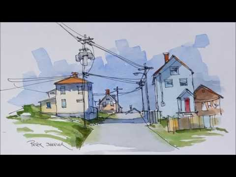 A virtual Urban Sketch of a street in Bonavista Newfoundland. A pen and wash Demonstration